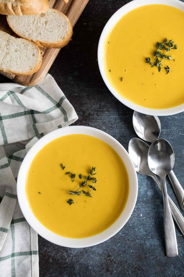 Slow Cooker Butternut Squash Soup with Thyme