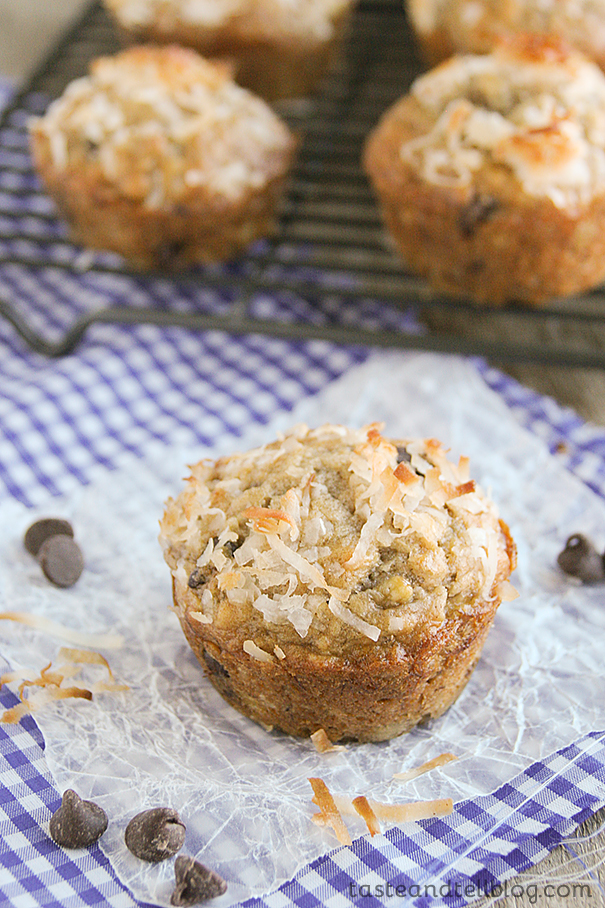 Banana Coconut Chocolate Chip Muffins   Taste and Tell