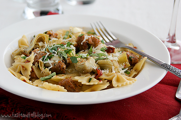 Pasta with Sausage, Artichokes and Sun-Dried Tomatoes - Taste and Tell