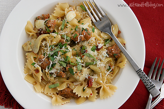 Pasta with Sausage, Artichokes and Sun-Dried Tomatoes ...