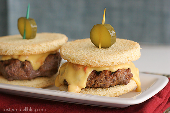 Pimiento Cheese Sliders | www.tasteandtellblog.com #recipe #burger #slider