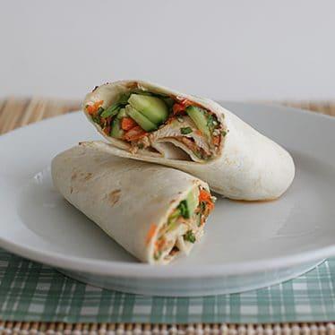 Thai Chicken Wraps with Spicy Peanut Sauce | www.tasteandtellblog.com