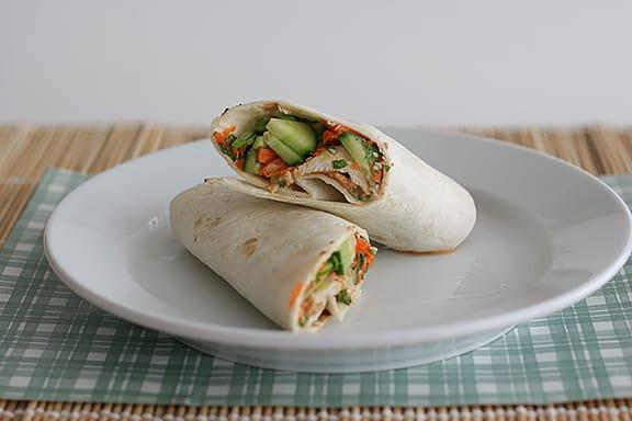 Thai Chicken Wraps with Spicy Peanut Sauce   www.tasteandtellblog.com