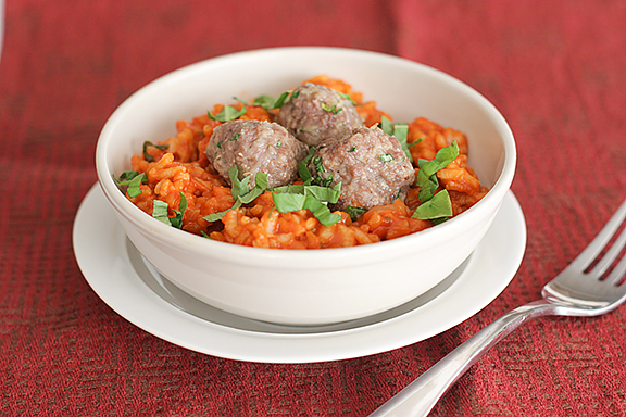 Mini Meatball Risotto | www.tasteandtellblog.com