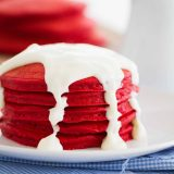 Red Velvet Pancakes on a plate