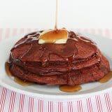 Red Velvet Pancakes | www.tasteandtellblog.com #recipe #breakfast #redvelvet