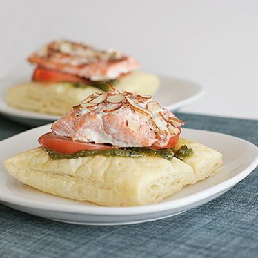 Salmon with Puff Pastry and Pesto   www.tasteandtellblog.com