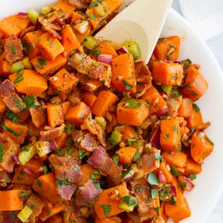 Easy side dish recipe - Sweet Potato Salad with Bacon