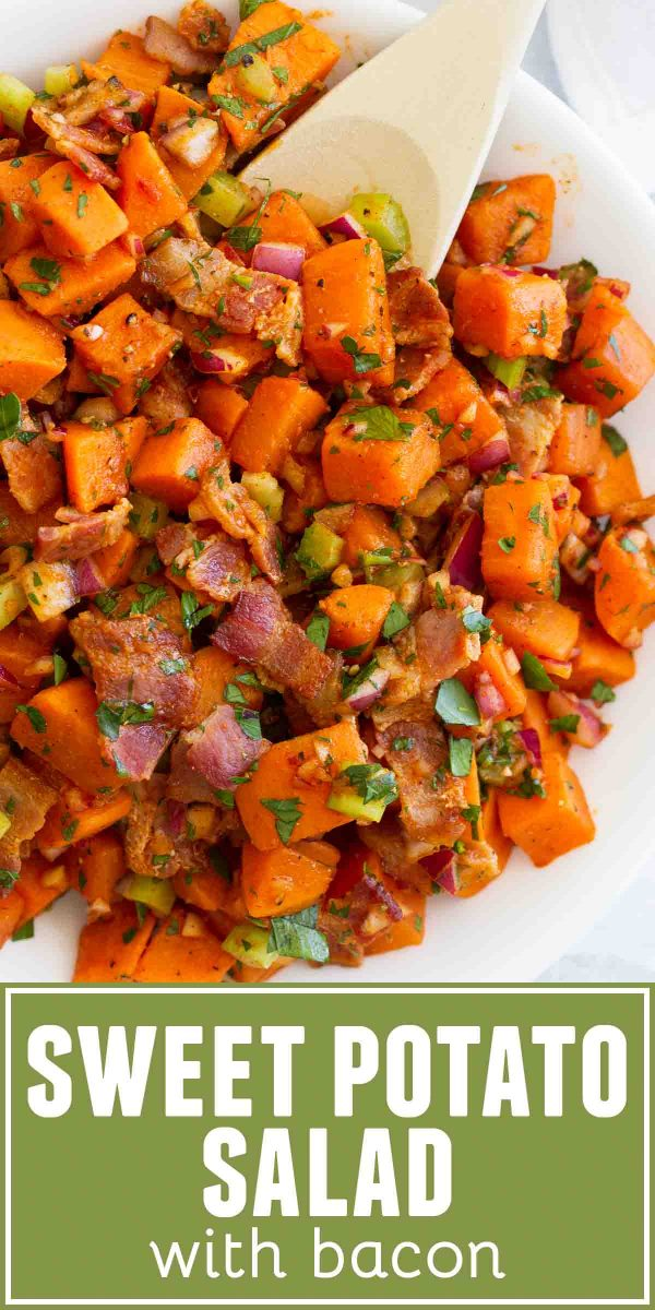 This Sweet Potato Salad with Bacon isn't your typical potato salad recipe! A take on German potato salad, this sweet potato salad has a vinegar based dressing that soaks into the potatoes - it's irresistible!