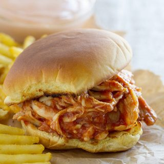 Need a quick hit for dinner tonight? These Chicken Sloppy Joes can be done in 15 minutes flat! Keep cooked, shredded chicken on hand for this easy dinner idea, or use a rotisserie chicken.