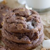 Pudding mix is the secret ingredient that keeps these Chocolate, Peanut Butter and Marshmallow Pudding Cookies super soft and tender.