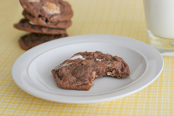 Chocolate, Peanut Butter and Marshmallow Pudding Cookies   www.tasteandtellblog.com