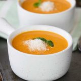 Easy Slow Cooker Tomato Basil Parmesan Soup