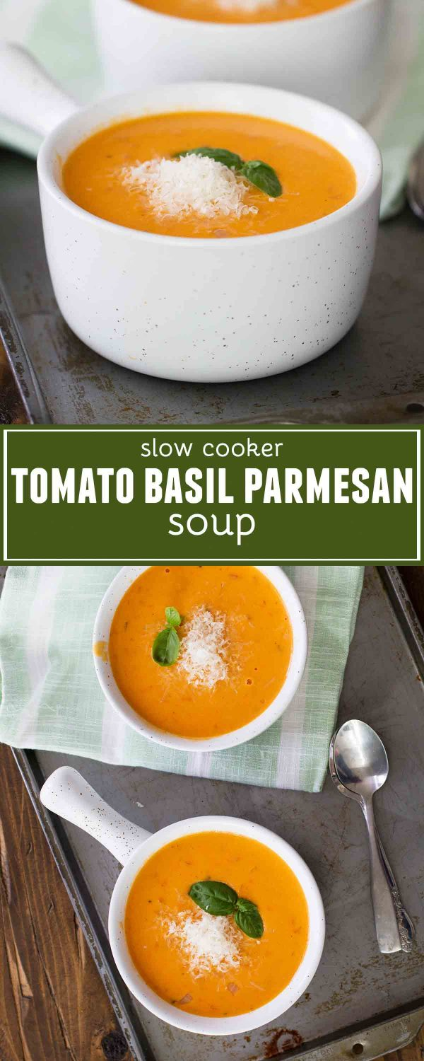 An easy slow cooker soup recipe, this Tomato Basil Parmesan Soup is full of tomato flavor, is super creamy, and is easily a family favorite!