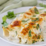 serving of white chicken enchiladas