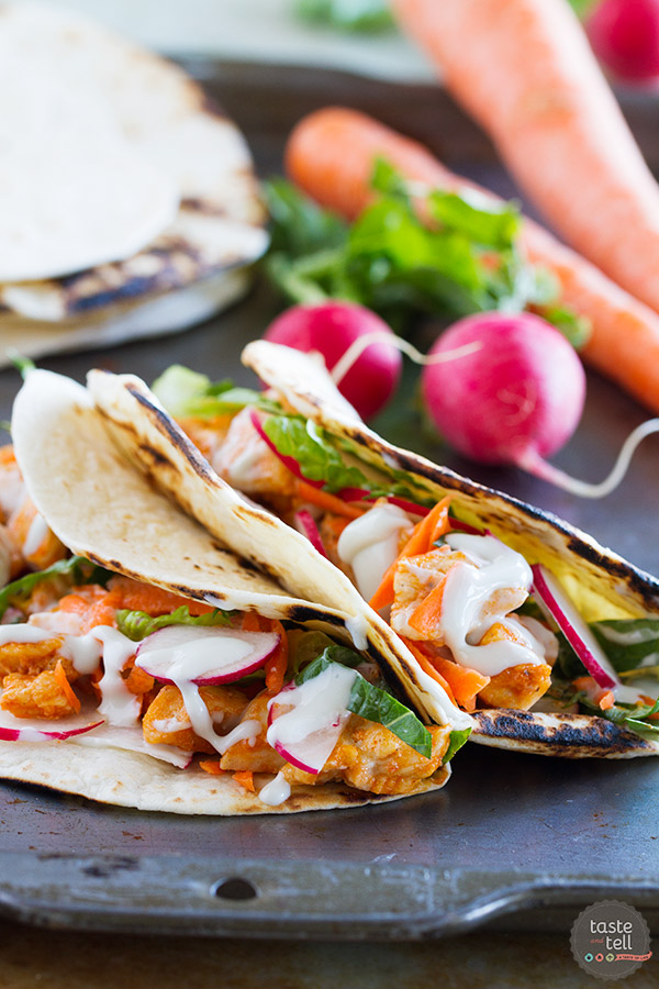 These buffalo chicken tacos are filled with all of your favorite buffalo chicken flavors, and they can be on the table in less than 30 minutes!