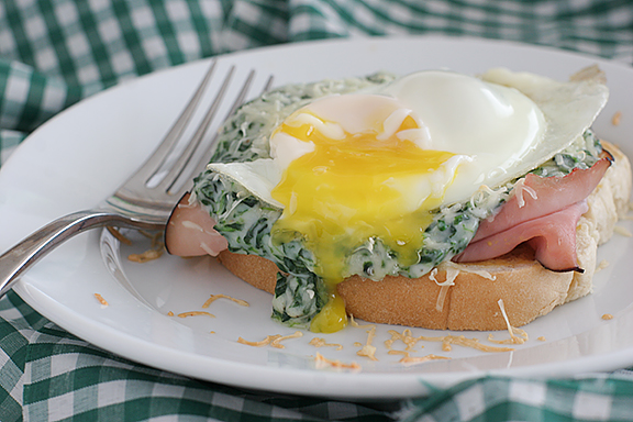 Creamed Spinach Croques Madame {Saturdays with Rachael Ray}