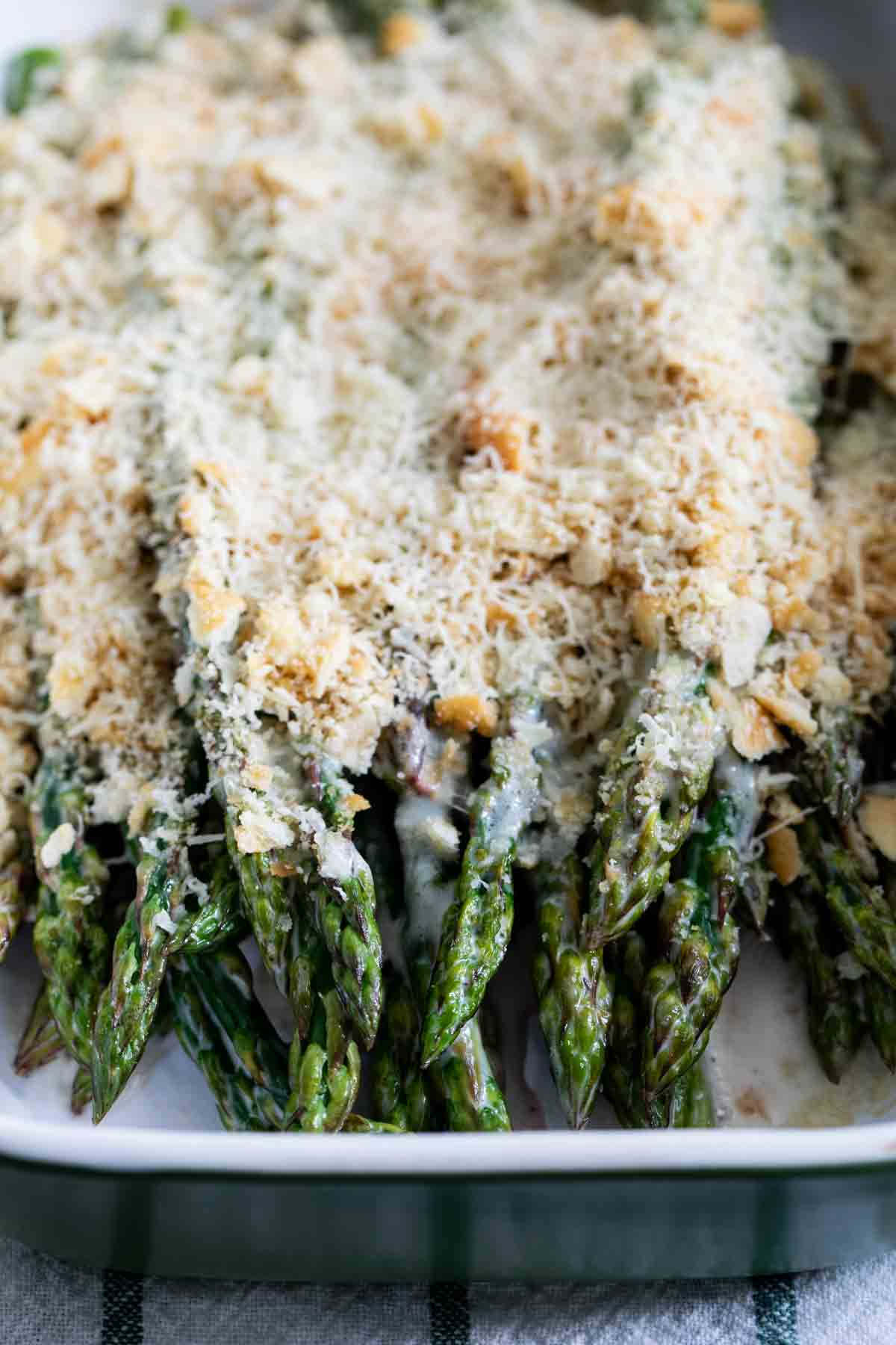 dish with creamy ranch baked asparagus