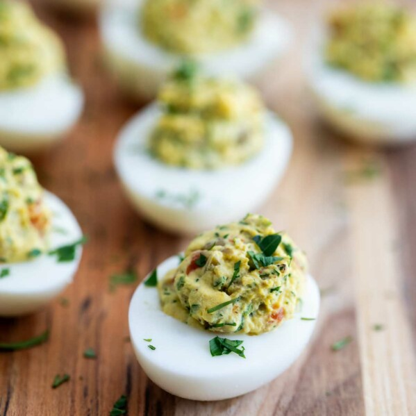 Green Olive Deviled Eggs with Fresh Herbs