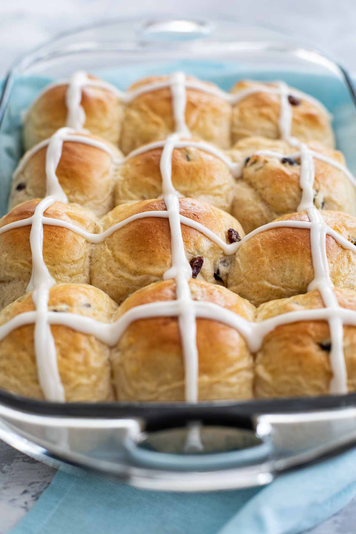 Pan of Hot Cross Buns with icing
