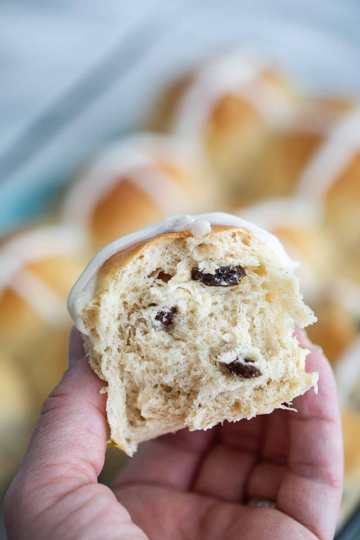 showing texture of hot cross buns with raisins