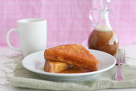 Puffed French Toast with Buttermilk Caramel Syrup | www.tasteandtellblog.com