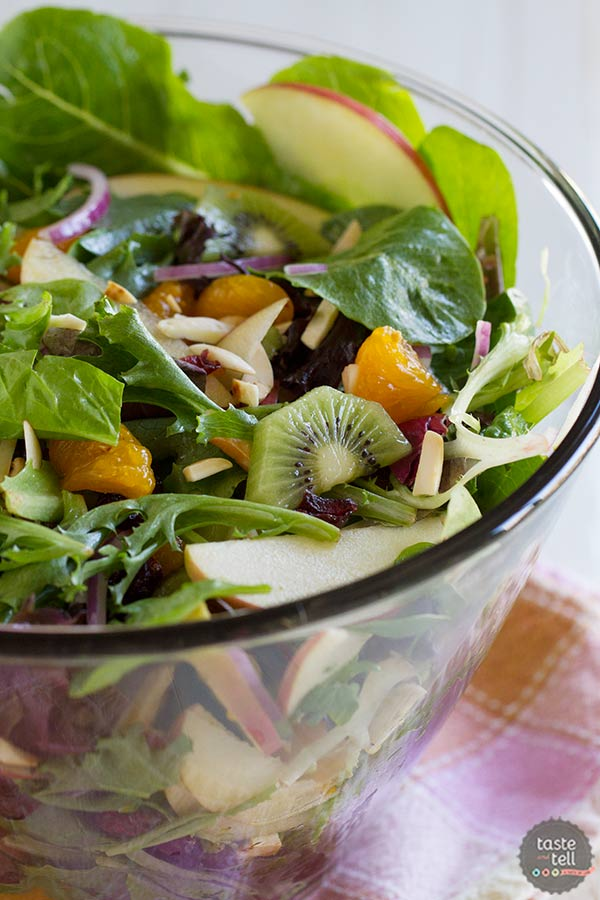 This sweet and savory summer salad is a family favorite - filled with lettuce, fruit, and a sweet and sour dressing.  Steph's Summer Salad is sure to become your favorite, too!