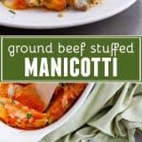 Ground Beef Stuffed Manicotti collage
