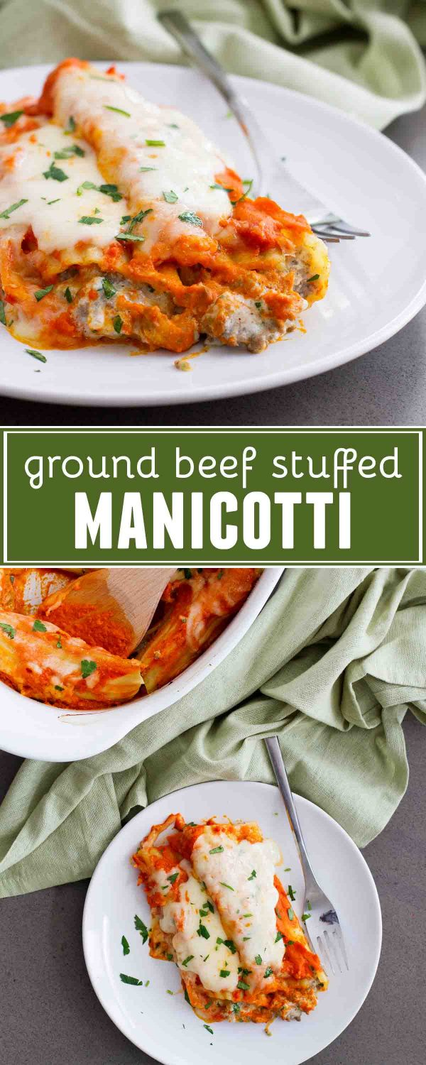 The perfect Sunday supper - this Ground Beef Stuffed Manicotti can be made ahead of time to save you from that dinnertime rush. Filled with ground beef and cheese and topped with a homemade sauce, this is a winning pasta dinner!