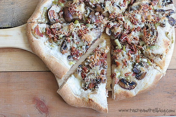 Leek, Mushroom and Bacon Pizza - Taste and Tell