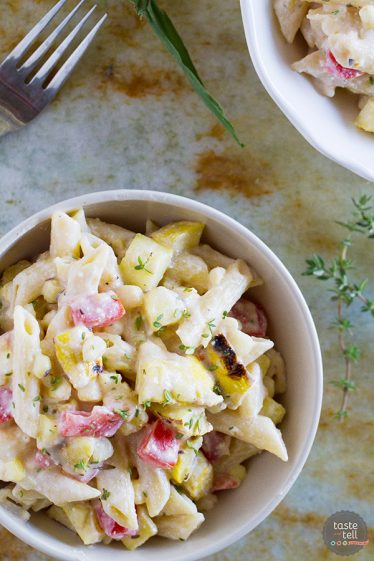 Penne with Grilled Summer Squash and Corn - Summer squash and sweet corn are the stars in this fresh and seasonal vegetarian dinner.