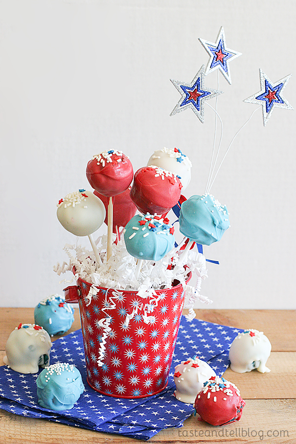 Red and Blue Velvet Cake Pops