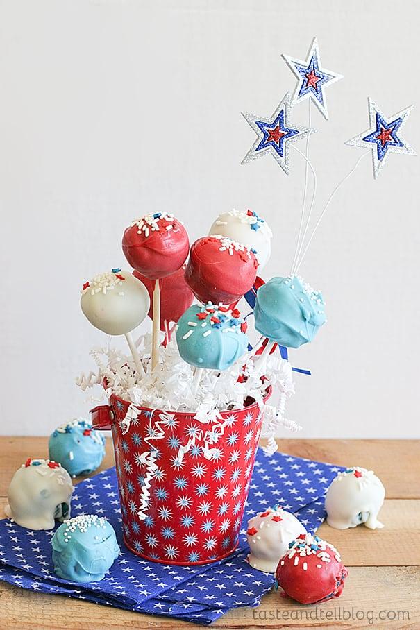 Red and Blue Velvet Cake Pops Taste and Tell