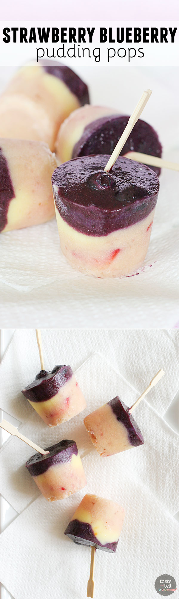 Yes – you can easily make frozen pudding pops at home! These pudding pops are infused with fresh strawberries and blueberries.