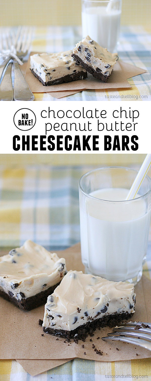 These easy, no bake Chocolate Chip Peanut Butter Cheesecake Bars are a perfect sweet treat that won't heat up the kitchen.