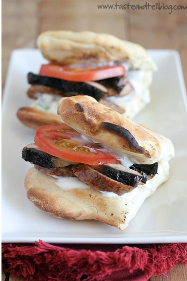 Grilled Corn and Sausage Flatbread Sandwiches | www.tasteandtellblog.com