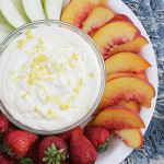 Lemon Cheesecake Fruit Dip on Taste and Tell