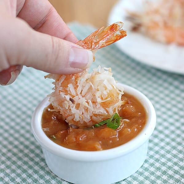 Baked Coconut Shrimp with Basil-Peach Sauce | www.tasteandtellblog.com