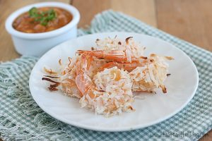 Baked Coconut Shrimp with Basil-Peach Sauce | www.tasteandtellblog.com