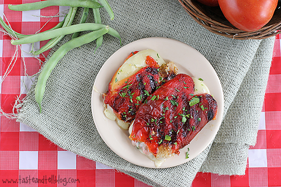 Grilled Roasted Red Peppers Stuffed with Cheese   www.tasteandtellblog.com