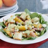 Spinach Salad with Grilled Ham and Peaches | www.tasteandtellblog.com