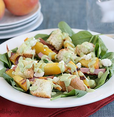 Spinach Salad with Grilled Ham and Peaches   www.tasteandtellblog.com