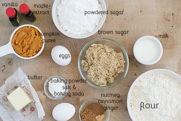 Ingredients for Baked Pumpkin Doughnut Recipe with Maple-Cinnamon Glaze