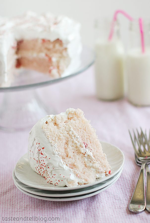 Cherry Chip Cake with Fluffy Frosting