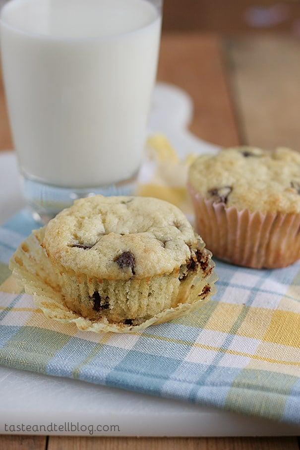 Chocolate Chip Sour Cream Muffins   www.tasteandtellblog.com