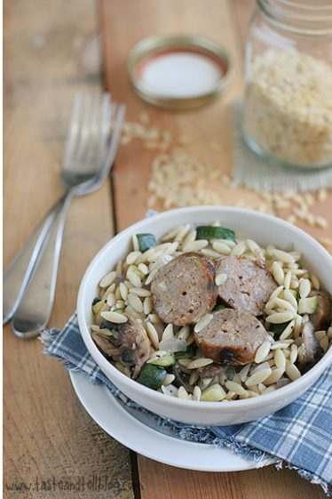 Orzo with Zucchini, Mushrooms and Sausage | www.tasteandtellblog.com