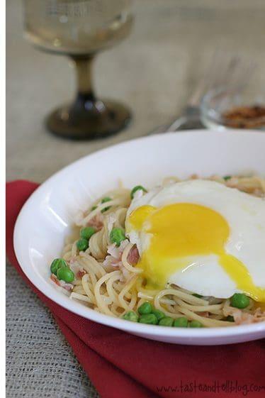 Spicy Pancetta with Peas | www.tasteandtellblog.com