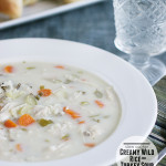Creamy Wild Rice and Turkey Soup {Slow Cooker}