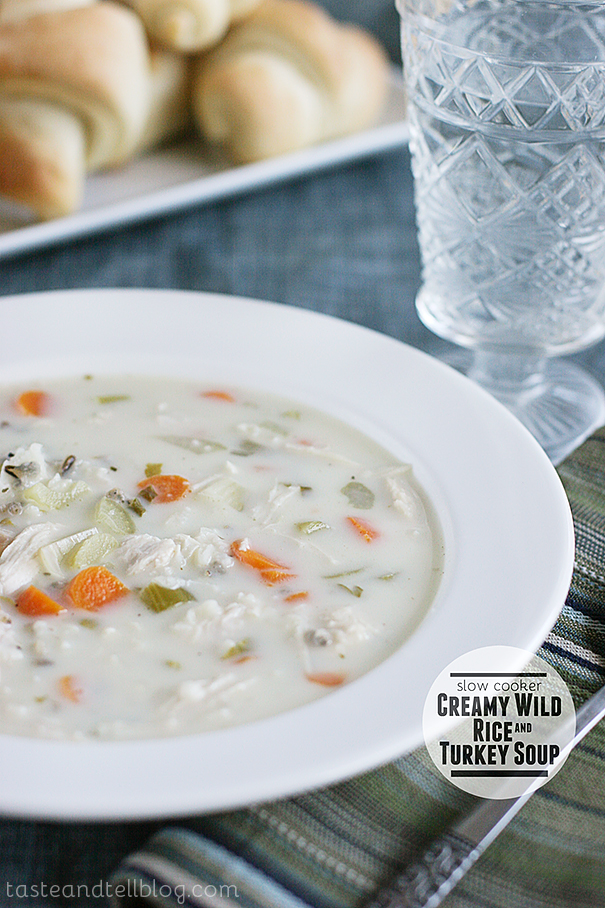 Slow Cooker Creamy Wild Rice and Turkey Soup | www.tasteandtellblog.com
