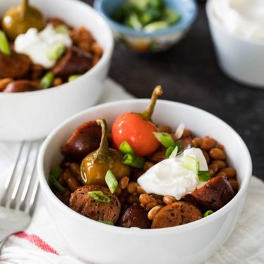 Easy Crock Pot Beans and Sausage